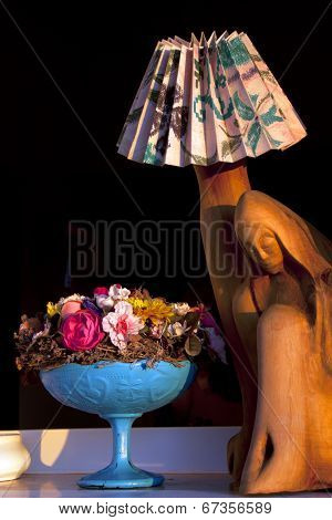 Wooden Madonna Lamp With Flowers