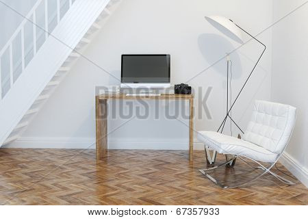 Home Working Cabinet Interior With White Armchair And Lighting Perspective View