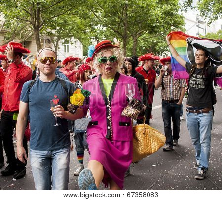 Elaborately Dressed Participants During Gay Pride Parade