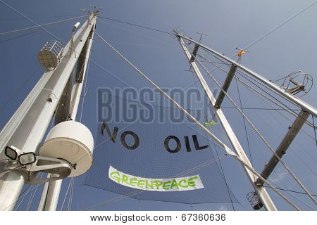 VALENCIA, SPAIN - JUNE 10, 2014: The mast of Greenpeace's vessel the