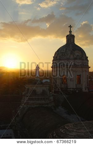 Sunset at La Merced Church in Nicaragua