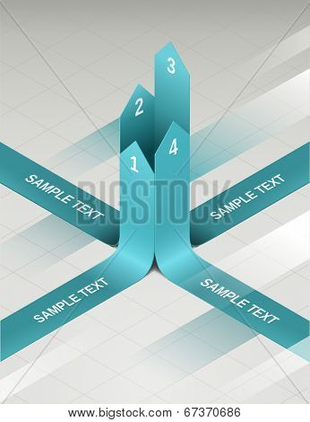 Retro info-graphics paper arrows. Picture was made with gradients, mesh and transparency. poster