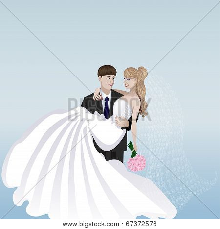 Illustration of wedding where the bridegroom holds the bride on the hands.