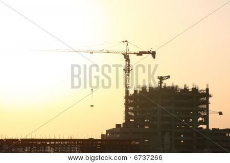 Construction Site With Huge Crane