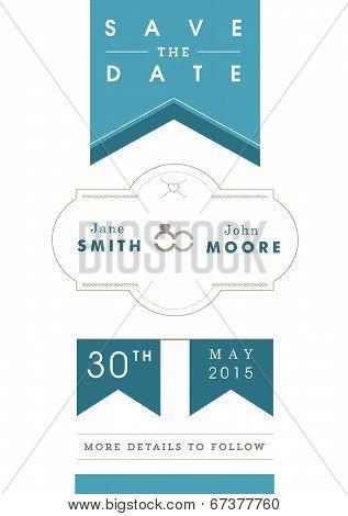 Save the date invitation blue ribbon theme