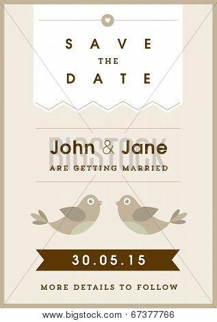 Save the date invitation gold love bird theme