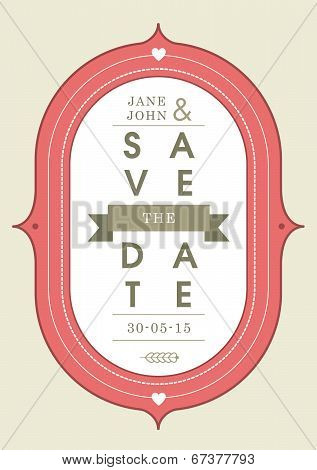 Save the date invitation red badge theme