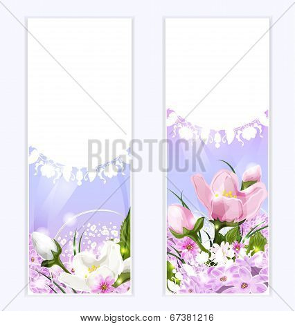 Floral banners with beautiful ornament
