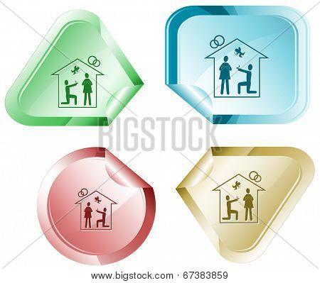 Home affiance. Vector sticker.