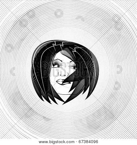 Shaded Lines Drawn Portrait Girl Beautiful Monochrome Pattern