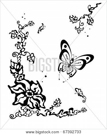 Butterfly Flitting Over A Flower