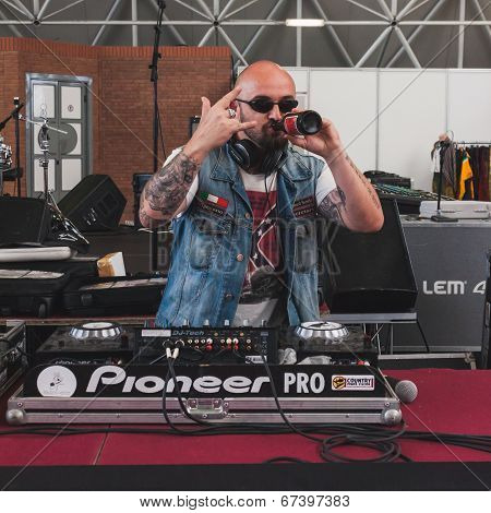 Dj Drinking Beer At Rocking The Park Event In Milan, Italy