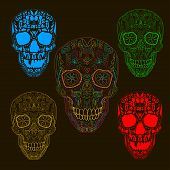Pattern with sugar skulls. Vector version on black background. poster