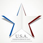 Silver star made by fold paper on grey background with stylish text U.S.A. Independence Day.  poster