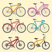 Bicycles. Vector. poster