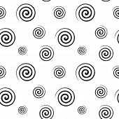 Abstract monochrome pattern of black spiral shapes on a white background. Fabric textile material seamless texture poster