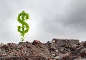 Conceptual image of green dollar sign growing on ruins poster