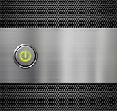 computer power or start button on metal background poster