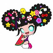 Little funny girl in the style of Japanese anime and kawaii with chicken on head and with different hair clips in the form of fruits, flowers, stars and rainbow. She is smiling and holding a watermelon. poster