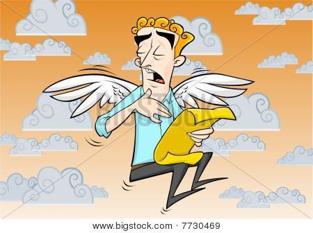 Guy with Angel Wings Singing