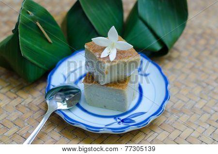 coconut custard squares (Khanom Maw Kaeng), thai dessert poster