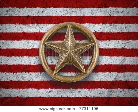 Bronze Star On Us Flag Background