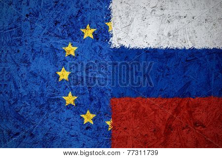 European Union And Russian Flags