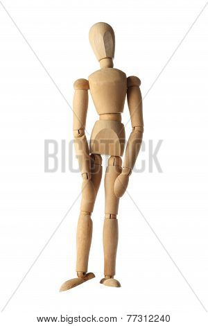 mannequin old wooden dummy feeling sad, badly and heartbroken acting isolated on white