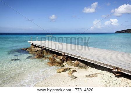 Jetty at beach of Porto Mari, Curacao