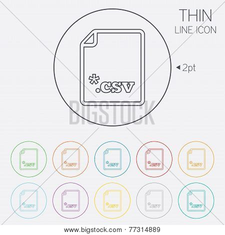 File document icon. Download tabular data file button. CSV file extension symbol. Thin line circle web icons with outline. Vector poster