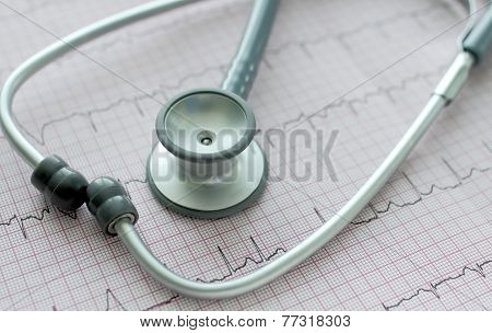 Stethoscope On The Ecg.