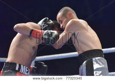 NOVOSIBIRSK, RUSSIA - NOVEMBER 29, 2014: Match Romero Marin (left) of Mexico vs Abdelkader Chadi of Algeria during AIBA Pro Boxing tournament. The winners will go to the Olympics-2016