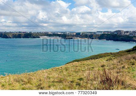 Newquay Bay coast Cornwall England UK