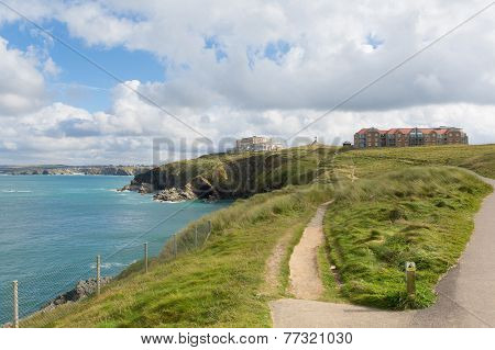 Path on Newquay coast North Cornwall England UK
