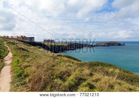 Path on Newquay coast Cornwall England UK