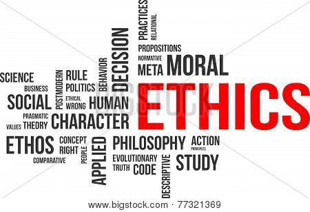 A word cloud of ethics related items poster