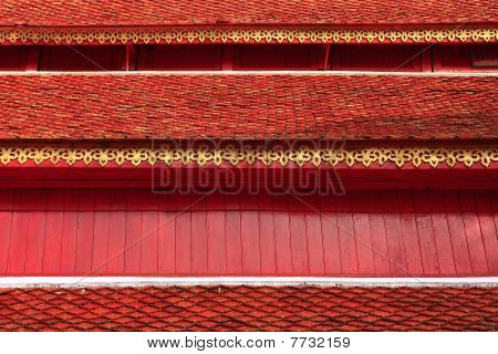 the red roof of temple in chiang mai poster