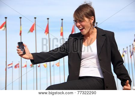 business woman with a smartphone