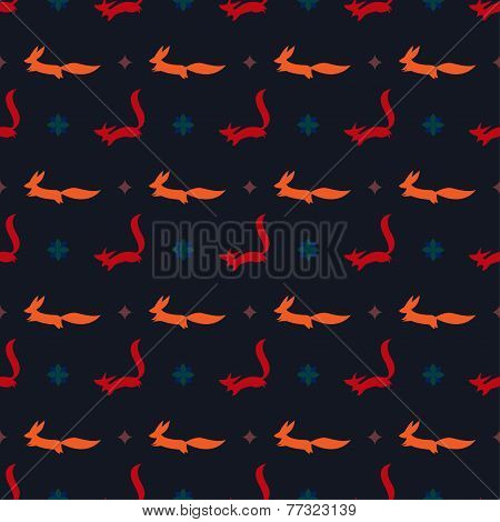 Bright Cartoon Ginger And Red Fox Vector Seamless Pattern On The Dark Cover