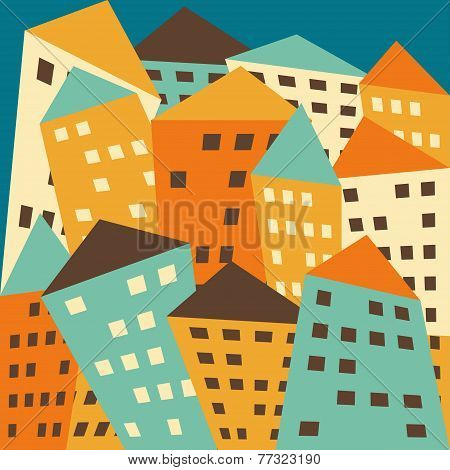 Bright Colored Vector Fictional Distorted Houses