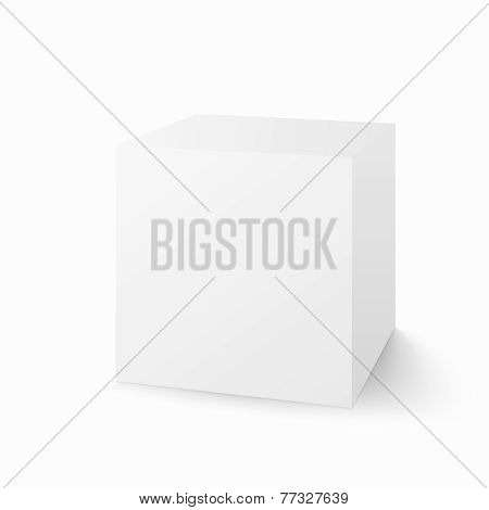 Vector white box isolated on white background