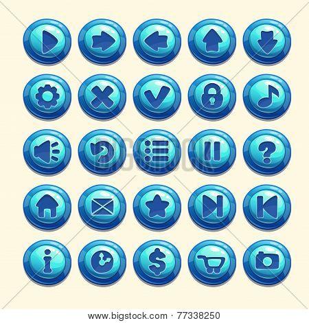set of cartoon blue buttons