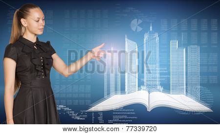 Beautiful businesswoman, open book , spatial layouts of buildings, figures. letters and diagram as b