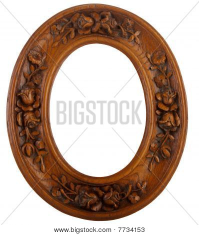 Carved wood oval frame
