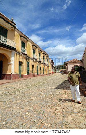 Street in central Trinidad de Cuba, Cuba.