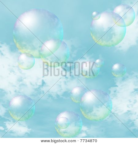 Soap-bubbles On The Background Of Blue Sky
