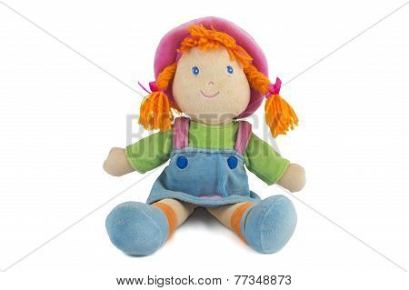 Stuffed Soft Sitting Funny Pig-tailed Red-headed Doll Isolated Over White