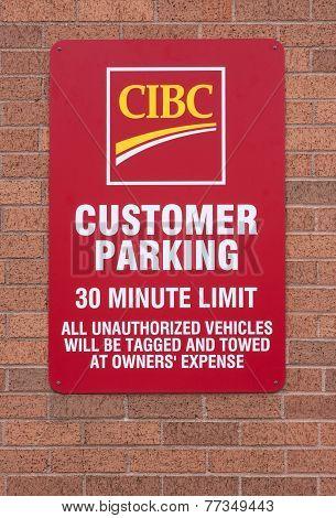 Cibc Customer Parking Sign