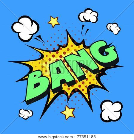 bang comic explosion  isolated on blue background poster