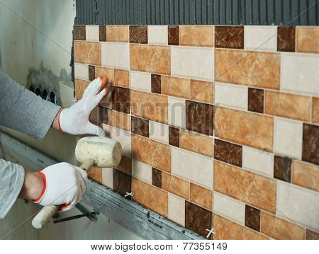 Laying Ceramic Tiles.